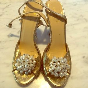 Kate Spade Gold Croc Pearl Cluster Strappy  Heels